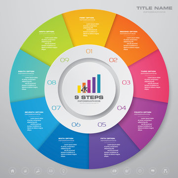 9 steps cycle chart infographics elements. EPS 10.