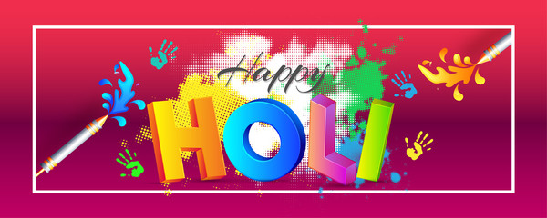 3D colorful text holi on glossy halftone background, festival of colors celebration header or banner design.