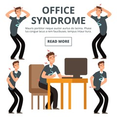 Office syndrome symptoms of set vector illustration. Syndrome body pain exercise