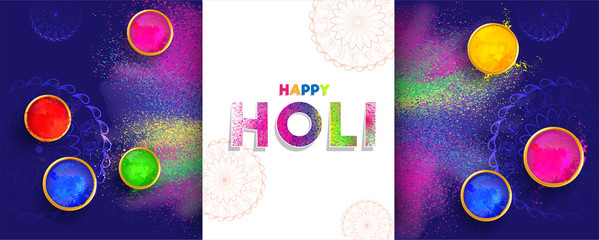 Festival of colors holi celebration poster or banner design with top view of color bowl on blue splash background.