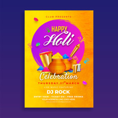 Happy Holi invitation card or template design with realistic color pots, bucket and guns on blue background.
