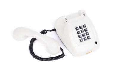 Old white telephone