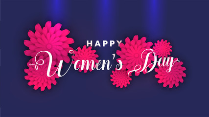 Stylish lettering of happy women's day with pink flowers decorated on glossy blue background.