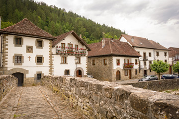 Old houses and stone brigde of Ochagavía, Navarre