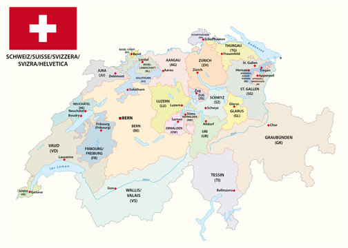 administrative and political vector map of switzerland with flag