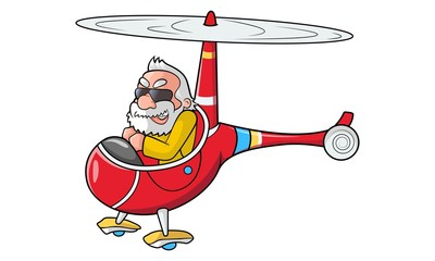 Vector cartoon illustration of cute narendra modi in helicopter. Isolated on white background.