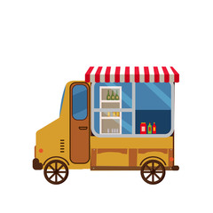 Truck vector template for car branding and advertising isolated on white. Side view, Van with stuff for Brand Identity street cafe and Fast-Food transport. Isolated, flat cartoon style