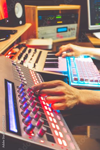 male DJ, producer, composer, sound engineer, editor hands