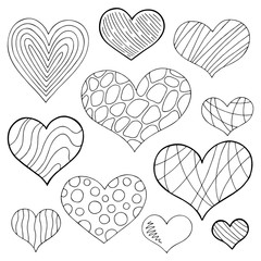 Pattern heart doodle black white isolated graphic sketch set illustration vector