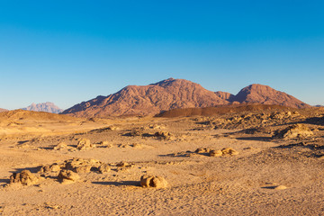 View of Arabian desert and mountain range Red Sea Hills in Egypt Wall mural