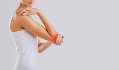 Pain, injury in the elbow joint.