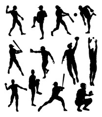 Baseball player detailed silhouettes sports set in lots of different poses