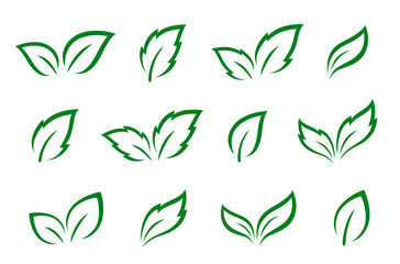 hand drawn set of green leaves icons