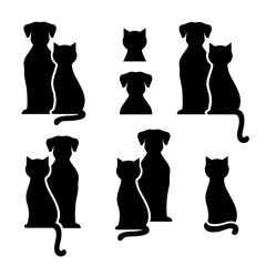 Set of abstract black cat and dog silhouettes
