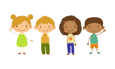 Cute children of different nationalities set, happy kids, multinational friendship concept vector Illustration