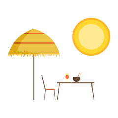 Straw umbrella, table and cocktails, summer time vector Illustration