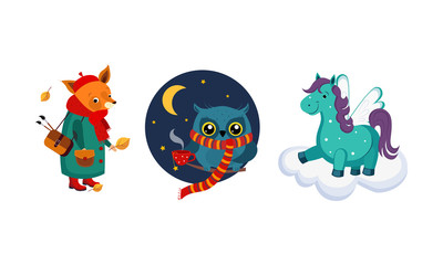 Wall Mural - Cute funny animals characters in different actions, fox in a coat and a bag, owl wearing knitted scarf drinking tea, horse with wings on a cloud vector Illustration