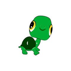 Funny  cartoon turtle. Vector illustration on white background.