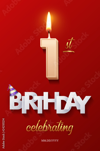 Burning Birthday Candle In The Form Of Number 10 Figure And Happy Celebrating Text With Party Cane Isolated On Red Background
