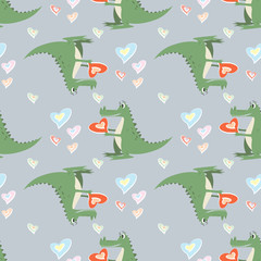 Seamless pattern funny cartoon crocodile with a heart
