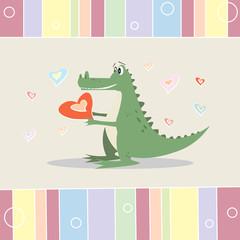funny cartoon crocodile with a heart. greeting card