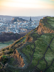 View of Edinburgh Castle from Arthur's Seat at sunset