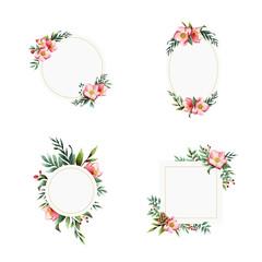 Set of Hellebore flower frames painted by watercolor vectors