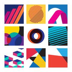 Multicolored Swiss graphic illustration set