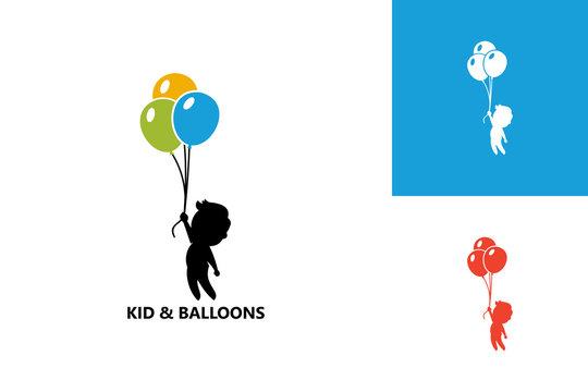 Kid & Balloon Logo Template Design Vector, Emblem, Design Concept, Creative Symbol, Icon