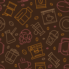 Coffee seamless pattern. Caffeine separator dark grains hot drinks espresso textile vector design projects. Coffee drink pattern for cafe illustration