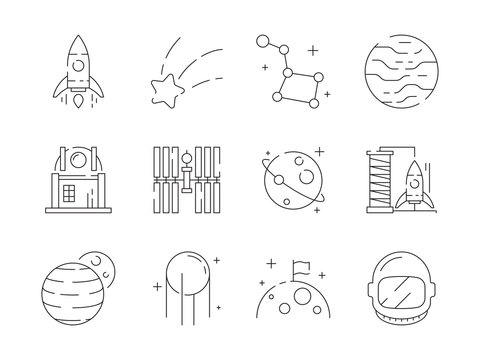 Space thin icon. Universe earth discovery astronaut rocket observatory stars telescope alien vector outline symbols. Satellite and rocket, discovery planet illustration