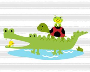 Funny crocodile cartoon with little friends