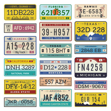 Car license plates. Automobile registration numbers vector template letters. Illustration of auto plate number, registration transport