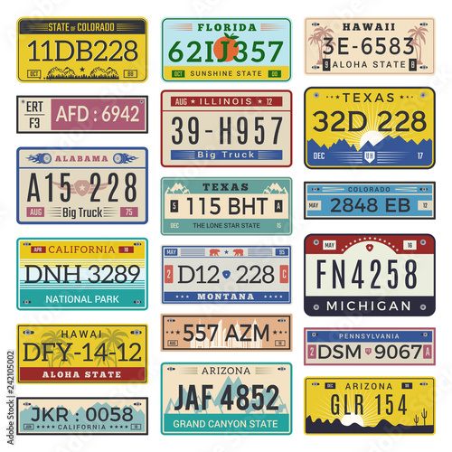 Car license plates  Automobile registration numbers vector