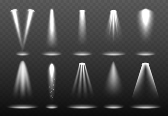 White realistic lights. Shining spotlight projection bright lightning stage vector environment visualization. Illustration of effect ray, beam bright of floodlight