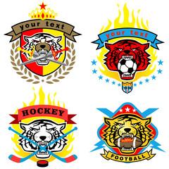 Vector set of tiger head illustration on sport logos