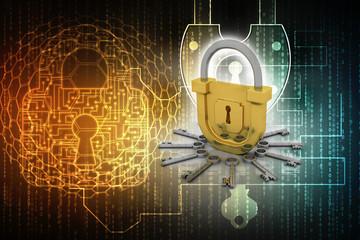 key and lock . 3D illustration