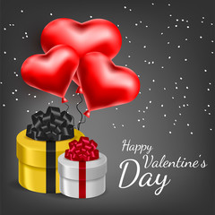 Vector greeting card with 3d hearts. Valentine s Day. Love and romance