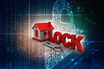 3D rendering of a keylock with a house