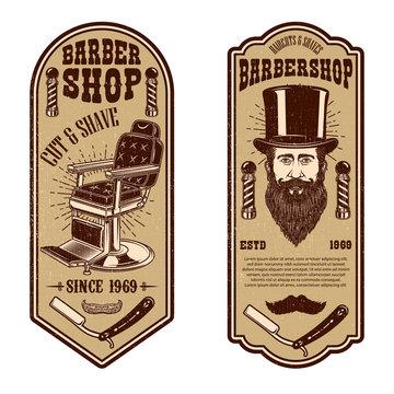 Barber shop flyer template. Barber chair and tools on grunge background. Design element for emblem, sign, poster, card, banner.