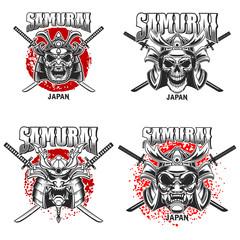 Emblem template with samurai helmet and crossed katanas on grunge background. Design element for logo, label, sign, poster, t shirt.