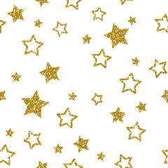 Golden Star Pattern. Glitter Look.