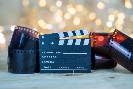 Film. Movie clapper and negative film , Cinema , Video Concept