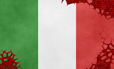 Graphic illustration of an Italian flag imitating a paiting on the cracked wall