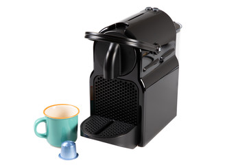 Color photo of black home coffee machine