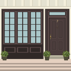 House door front with doorstep and  steps, window, flowers in pot, building entry facade, exterior entrance design illustration vector in flat style