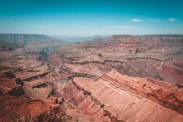 Colors and layers from the southern rim of Grand Canyon National Park in Arizona, USA.Teal and orange view.