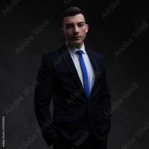 536c47c8a709 portrait of relaxed businessman wearing navy suit and blue tie ...