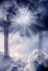 Wall Mural - mystical spiritual gate in mystic cloudy sky with stars and light like angel divine Paradise concept and mysterious background
