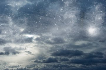 Wall Mural - mystical mystic sky with stars and light like magic background